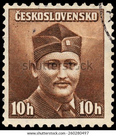 CZECHOSLOVAKIA - CIRCA 1945: stamp printed by Czechoslovakia, shows soldier, circa 1945 - stock photo