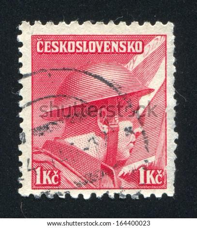 CZECHOSLOVAKIA - CIRCA 1945: stamp printed by Czechoslovakia, shows Staff Capt. Ridky (British Army), circa 1945 - stock photo