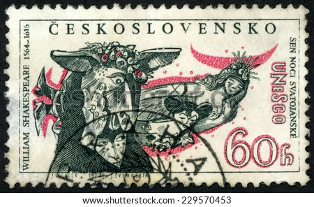 CZECHOSLOVAKIA - CIRCA 1964: stamp printed in Czech (Ceskoslovensko) shows Titania, Bottom, from play midsummer nights dream by William Shakespeare (1564-1616) UNESCO; Scott 1230 A471 60h, circa 1964 - stock photo