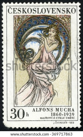 CZECHOSLOVAKIA - CIRCA 1969: stamp printed in Czech republic (Ceskoslovensko) shows music paintings by Alfons Mucha (1860-1939), woman in pink dress sitting on window; Scott 1634 A606 30h, circa 1969 - stock photo