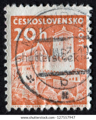 CZECHOSLOVAKIA - CIRCA 1960: stamp printed in Czech Republic shows Kost Castle. Castles. Scott Catalog 972 A382 20h brown orange, circa 1960. - stock photo