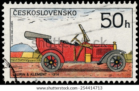 "CZECHOSLOVAKIA - CIRCA 1988: Stamp printed in Czechoslovakia from the ""Historic Motor Cars"" issue shows Laurin and Klement Car, 1914, circa 1988. - stock photo"