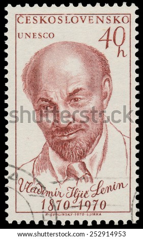 CZECHOSLOVAKIA - CIRCA 1970: Stamp printed in Czechoslovakia shows portrait Lenin, Russian Communist leader, circa 1970 - stock photo