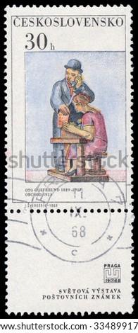 CZECHOSLOVAKIA - CIRCA 1968: Stamp printed in Czechoslovakia, shows sculpture by O. Gutfreund, circa 1968  - stock photo