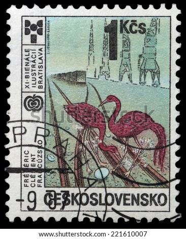 CZECHOSLOVAKIA - CIRCA 1987: The stamp printed in Czechoslovakia showing red storks - birds, circa 1987 - stock photo