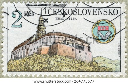 CZECHOSLOVAKIA - CIRCA 1982: The stamp printed in Czechoslovakia shows an ancient castle, circa 1982 - stock photo