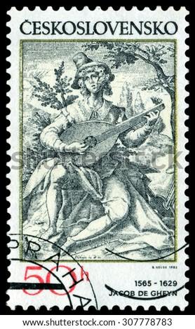 CZECHOSLOVAKIA - May. 18. 1982. A stamp printed by Czechoslovakia shows  Lute Player, by Jakob de Gheyn. - stock photo