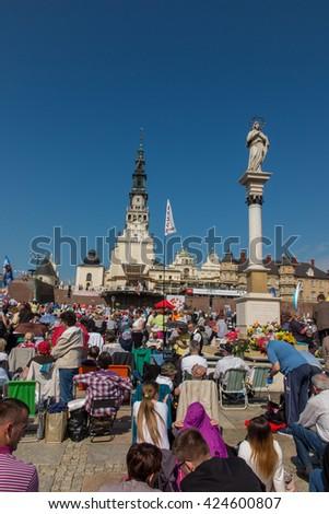 CZESTOCHOWA, POLAND - May 21, 2016: Vigil Catholic Charismatic Renewal meeting Czestochowa Poland, in front of Jasna Gora, Anniversary, May 21, 2016, - stock photo