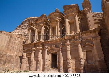d Deir, The Monastery Temple of Petra, Jordan - stock photo