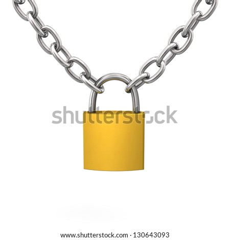 D-Lock with iron chain on the white background. - stock photo