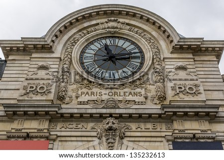 D'Orsay Museum - museum in Paris, France, on left bank of Seine river. It is housed in former Gare d'Orsay (railway station). Famous clock. Museum holds mainly French art dating from 1848 to 1915. - stock photo