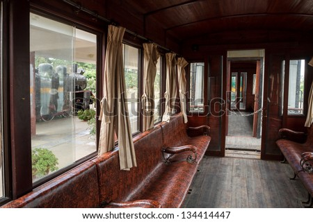 Da Lat Railway Station, built in 1938, Art Deco style, one of carriages interior - stock photo