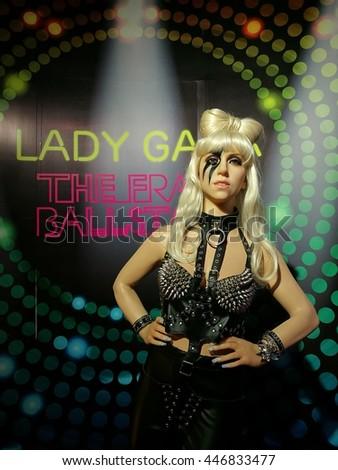 Da Nang, Vietnam - Jun 20, 2016: Lady Gaga wax statue on display at Ba Na Hills mountain resort. Stefani Joanne Angelina Germanotta, known as Lady Gaga, is an American singer, songwriter, and actress. - stock photo