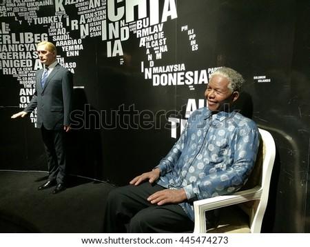 Da Nang, Vietnam - Jun 20, 2016: Nelson Mandela wax statue on display at Ba Na Hills mountain resort. Mandela was a South African anti-apartheid revolutionary, politician, and philanthropist. - stock photo
