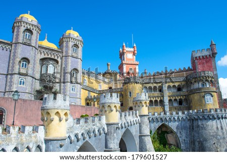 Da Pena Palace in Sintra on a blue day - stock photo