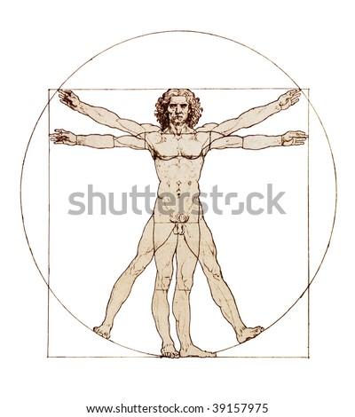 Da Vinci's Vitruvian Man - stock photo