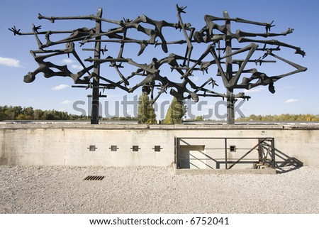 Dachau concentration camp memorial - stock photo