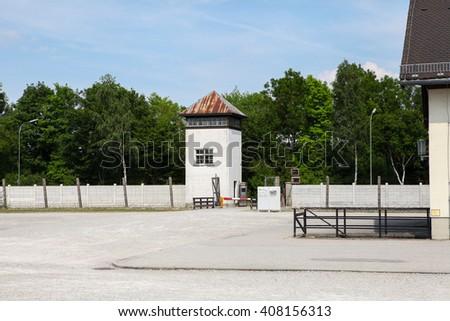 Dachau World War II Concentration in Germany Camp. Watchtower in the Dachau Concentration camp memorial - stock photo