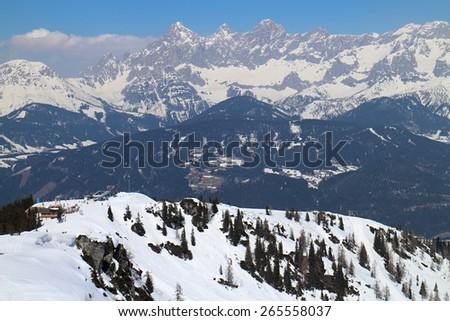 Dachstein group mountains from Gasselhohe, Austria - stock photo