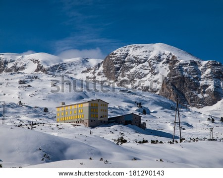 Dachstein mountain with Oberfeld house in Krippenstein area (Austria) - stock photo