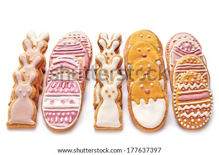 Dacorated cookies for Easter on a white background. - stock photo
