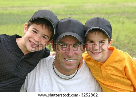 Dad and Boys - stock photo