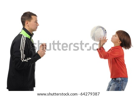 Dad and son playing ball. Isolated on white background - stock photo