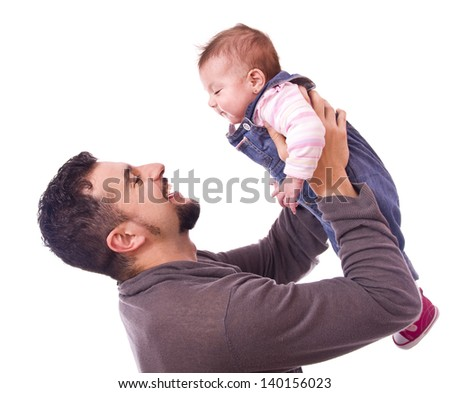 Dad lifting his baby. Isolated people over white. - stock photo