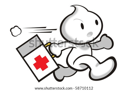 DaDa holding a first-aid box on the way to rescue. - stock photo
