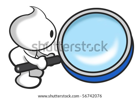 DaDa holding the magnifying glass searching for something symbolizes research. - stock photo