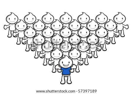 DaDa is the team leader, forming a triangle shape. - stock photo