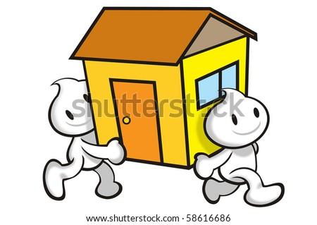 DaDa moving house. - stock photo