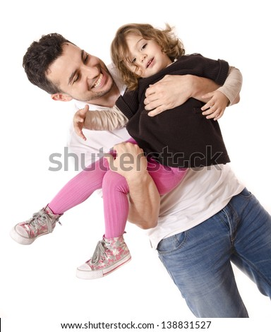 Daddy and daughter playing. Adult and little girl isolated over white. - stock photo