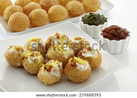 Dahi Batata Puri, Chat food, India - stock photo