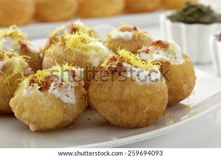 Dahi Batata Puri, Chat food, India - stock photo