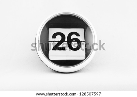 Daily calendar date change on a white background. day 26 - stock photo