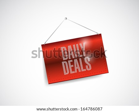 daily deals hanging banner illustration design over white - stock photo