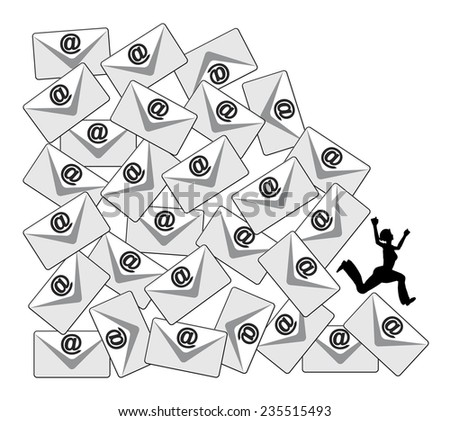 Daily Email Load. Business metaphor for the negative aspects of the flood of e-mails at the workplace or in social media - stock photo