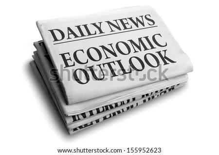 Daily news newspaper headline reading economic outlook concept for financial forecasting - stock photo