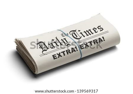 Daily TImes Newspaper Folded with Rubber Band. Isolated on White Background. - stock photo