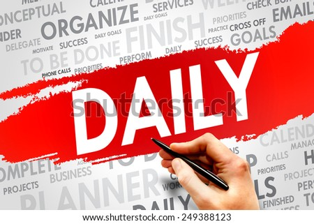 DAILY word cloud, business concept - stock photo