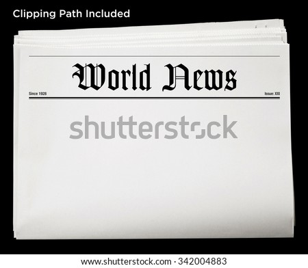 Daily World Newspaper Blank Content Isolated with Clipping Path. - stock photo