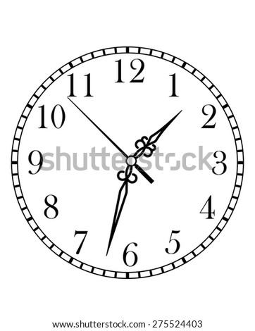 Dainty line drawing of a round dial clock face with Arabic numerals and hour, minute and second hands, isolated on white background - stock photo