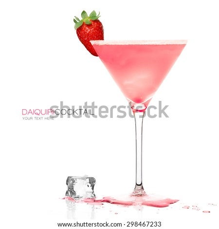 Daiquiri frozen cocktail in a stylish martini glass garnished with fresh strawberry and ice cube on the table, isolated on white background. Design template with sample text - stock photo
