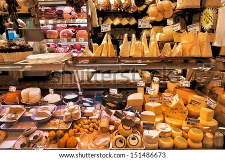 Dairy and meat products. Milk and meat market. Italy. - stock photo