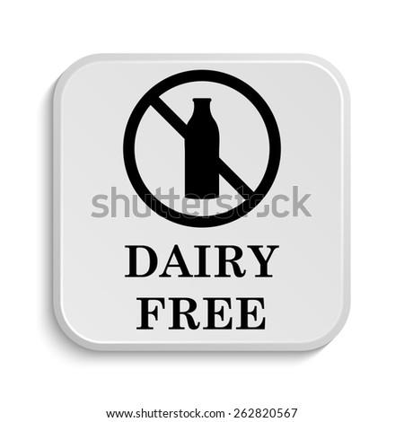 Dairy free icon. Internet button on white  background.  - stock photo