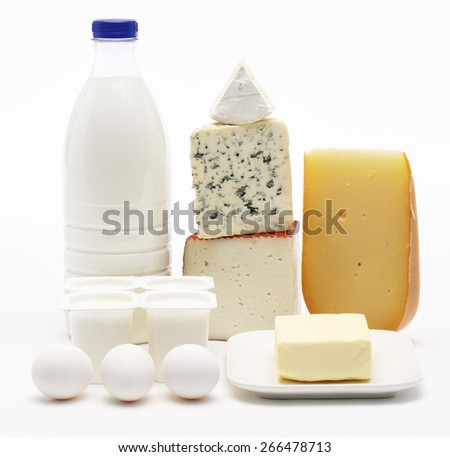 Dairy products and eggs Milk bottle yogurts eggs butter goat cheese blue cheese brie and maasdam - stock photo