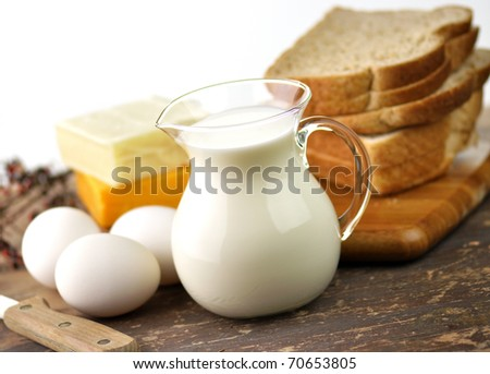 dairy products and Fresh eggs - stock photo