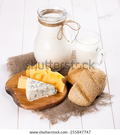 dairy products. cheese, milk, sour cream - stock photo
