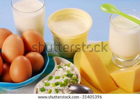 dairy products on the table - stock photo